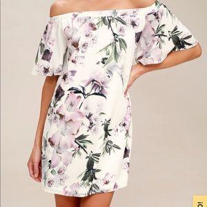 Ivory Floral Off-the-Shoulder Dress